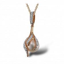 Кулон из красного золота Аэлита с бриллиантами и жемчугом