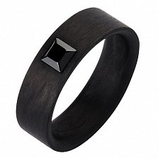 Кольцо из карбона с чёрным фианитом Принц