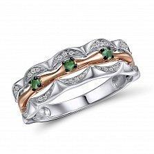 Кольцо из белого и красного золота Елизавета с бриллиантами и изумрудами