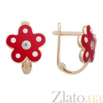 Серьги в красном золоте Маленькая модница с эмалью и фианитами 000022803