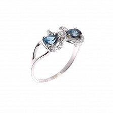 Серебряное кольцо Бантик с топазами лондон и фианитами