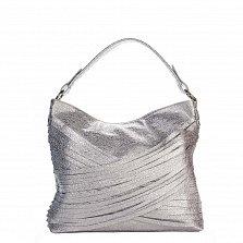Кожаная деловая сумка Genuine Leather 8967 серебристого цвета на молнии, с декором из тонких полосок