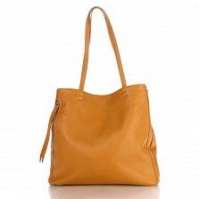 Кожаная сумка на каждый день Genuine Leather 8968 коньячного цвета с карманами на молнии по бокам