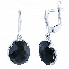 Серебряные серьги-подвески Оделис с черным ониксом