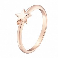 Кольцо Звездочка в красном золоте