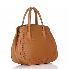 Кожаная деловая сумка Genuine Leather 8629 коньячного цвета с тремя отделениями на молнии
