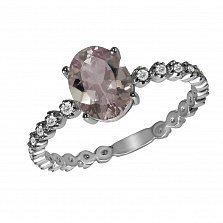 Кольцо из белого золота Ксения с бриллиантами и морганитом( бериллом)