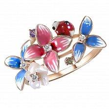 Кольцо Весенний букет из красного золота с бриллиантами, аметистом, перламутром и эмалью