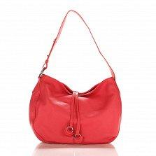 Кожаная сумка на каждый день Genuine Leather 8934 кораллового цвета с декоративными подвесками