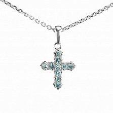 Серебряный декоративный крестик Элия с голубыми топазами