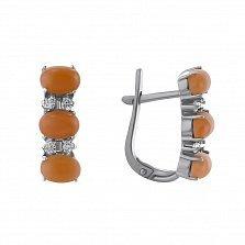 Серебряные серьги Гармония с оранжевыми и белыми фианитами