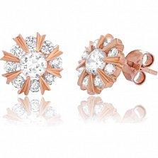 Позолоченные серебряные сережки-пуссеты с цирконием Морозное утро
