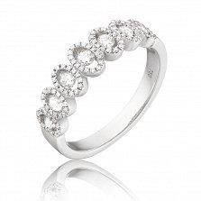 Золотое кольцо Майра в белом цвете с узорной шинкой и бриллиантами