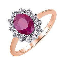 Кольцо из красного золота с рубином и бриллиантами 000147921