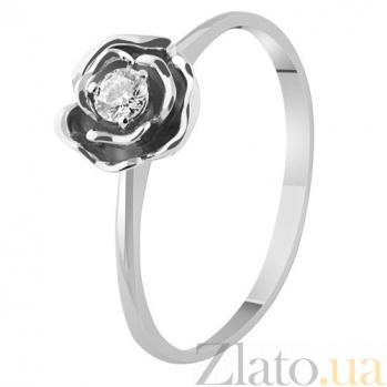 Кольцо из белого золота с бриллиантом Весенняя роза KBL--К1889/бел/брил