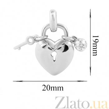 Золотой подвес с бриллиантом Замок и ключ 000026762