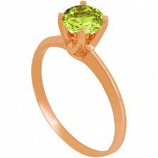 Золотое кольцо Фрейя с хризолитом