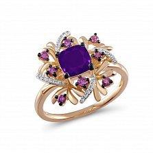 Кольцо из красного золота с аметистами и бриллиантами Ивори