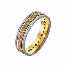 Золотое обручальное кольцо Душевный порыв с дорожкой фианитов по всей шинке