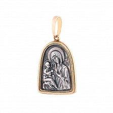 Серебряная ладанка с позолотой и чернением Божья Матерь с младенцем