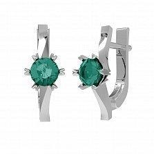 Серебряные серьги Янина с зеленым кварцем и фианитами
