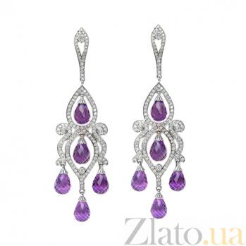 Золотые серьги с бриллиантами и аметистами Countess ZMX--EDAm-00141w
