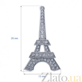 Серебряная брошь с фианитами Париж AQA--8889