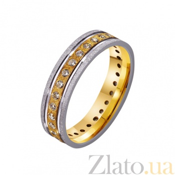 Золотое обручальное кольцо Душевный порыв с дорожкой фианитов по всей шинке TRF--4421646