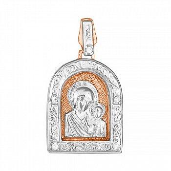 Серебряная ладанка Казанская Божья матерь в частичной позолоте с фианитами 000028651