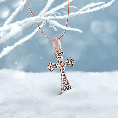 Золотой крестик в комбинированном цвете с алмазной гранью 000147546