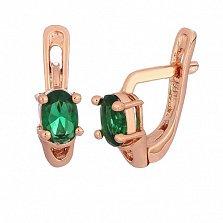 Серебряные серьги с позолотой и зелеными фианитами Грейс