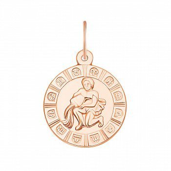Підвіска Водолій з червоного золота 000130728