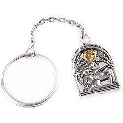Серебряный брелок Знак зодиака Близнецы с позолотой 000004653
