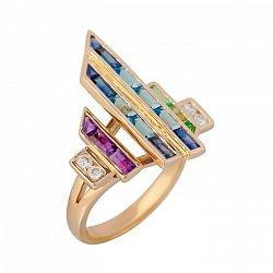 Золотое кольцо с топазами, аметистами, цаворитами и сапфирами Музыка флейты 000032313