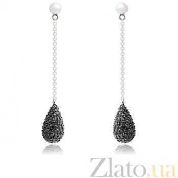 Серебряные серьги Интрига 10030118