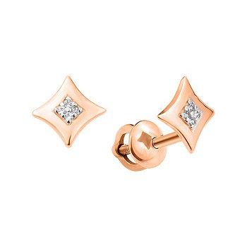 Серьги-пуссеты  из красного золота с фианитами 000103834