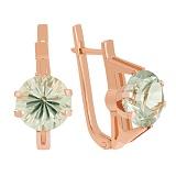 Золотые сережки с зеленым аметистом Виррида
