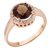 Кольцо в красном золоте Келли с раухтопазом и фианитами