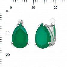 Серебряные серьги Фанни с зеленым агатом