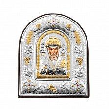 Серебряная икона Святой Николай Чудотворец в арочной рамке