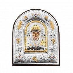 Серебряная икона Святой Николай Чудотворец в арочной рамке 000126547
