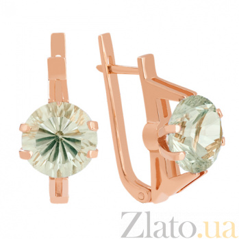 Золотые сережки с зеленым аметистом Виррида VLN--113-663-5