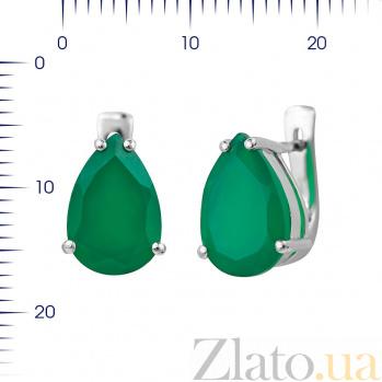 Серебряные серьги Фанни с зеленым агатом 000081866