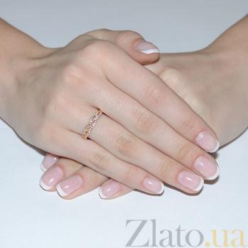 Золотое кольцо Плетенка в красном цвете с фианитами 12607 с