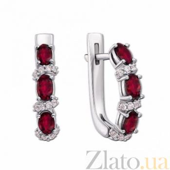 Серебряные серьги с рубином и цирконием Фиолент 2125/9р рубин