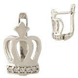 Серебряные серьги Императрица с фианитами