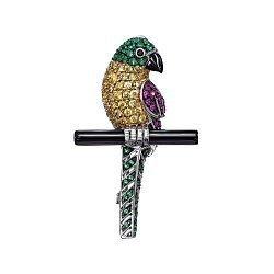 Серебряная брошь Птица с цветными фианитами и ониксом 000148829
