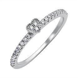 Серебряное кольцо с дорожками фианитов 000118403