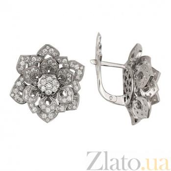 Серьги из белого золота с цирконием Осенние цветы VLT--ТТ295