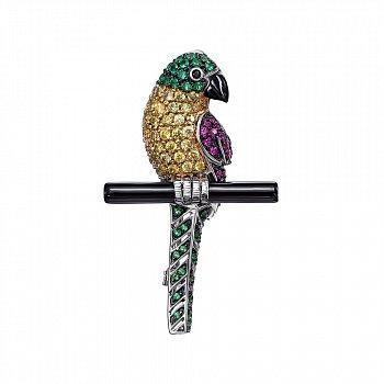 Срібна брошка Птах з кольоровими фіанітами і оніксом 000148829